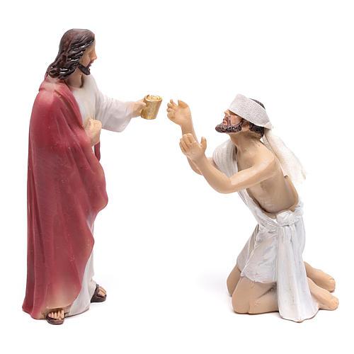 Statuine scena della vita di Gesù: guarigione dei non vedenti 9 cm 1