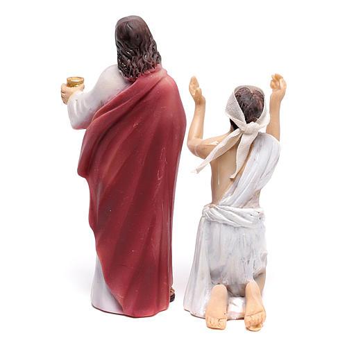 Statuine scena della vita di Gesù: guarigione dei non vedenti 9 cm 3