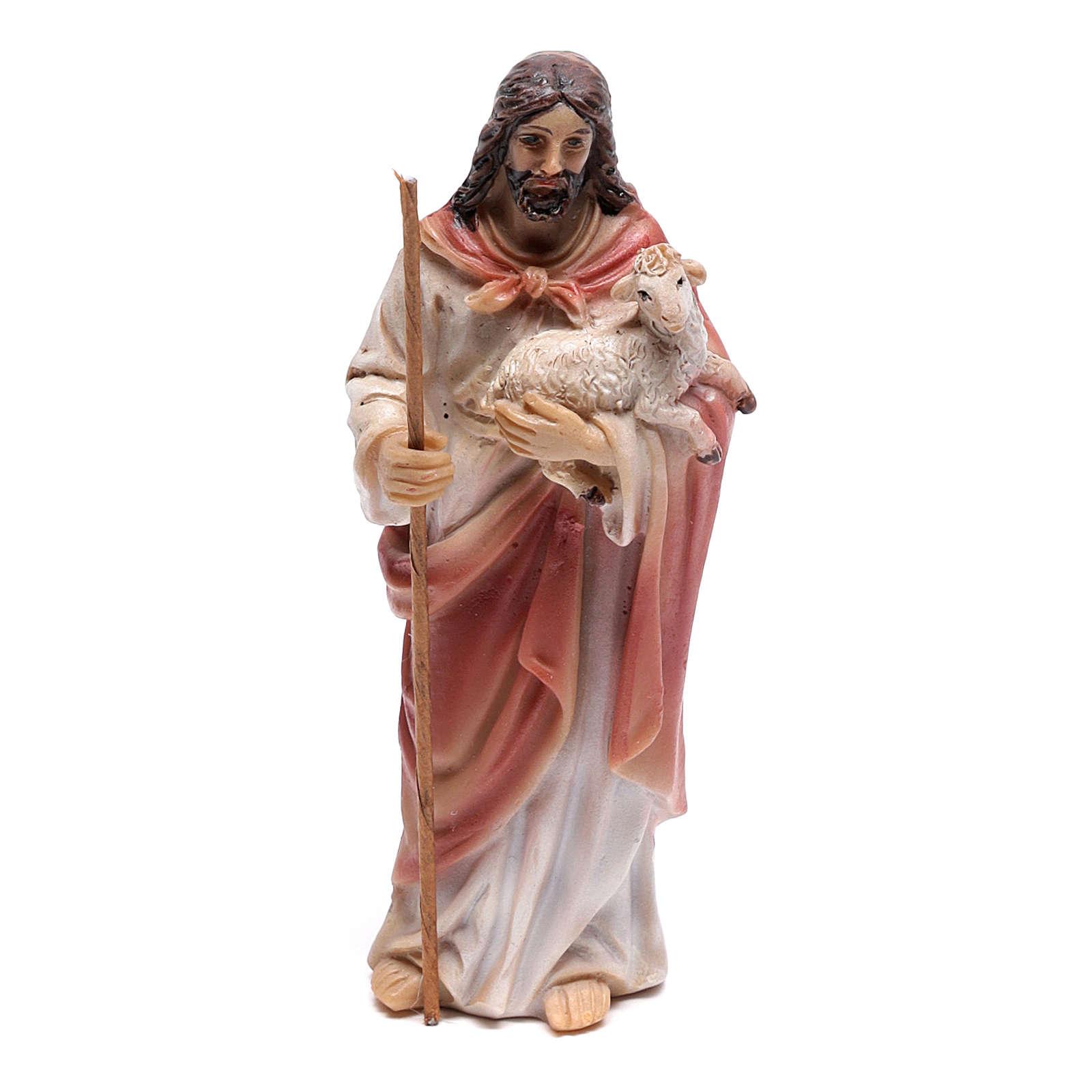 Santon Jésus Bon Pasteur 9 cm en résine 4