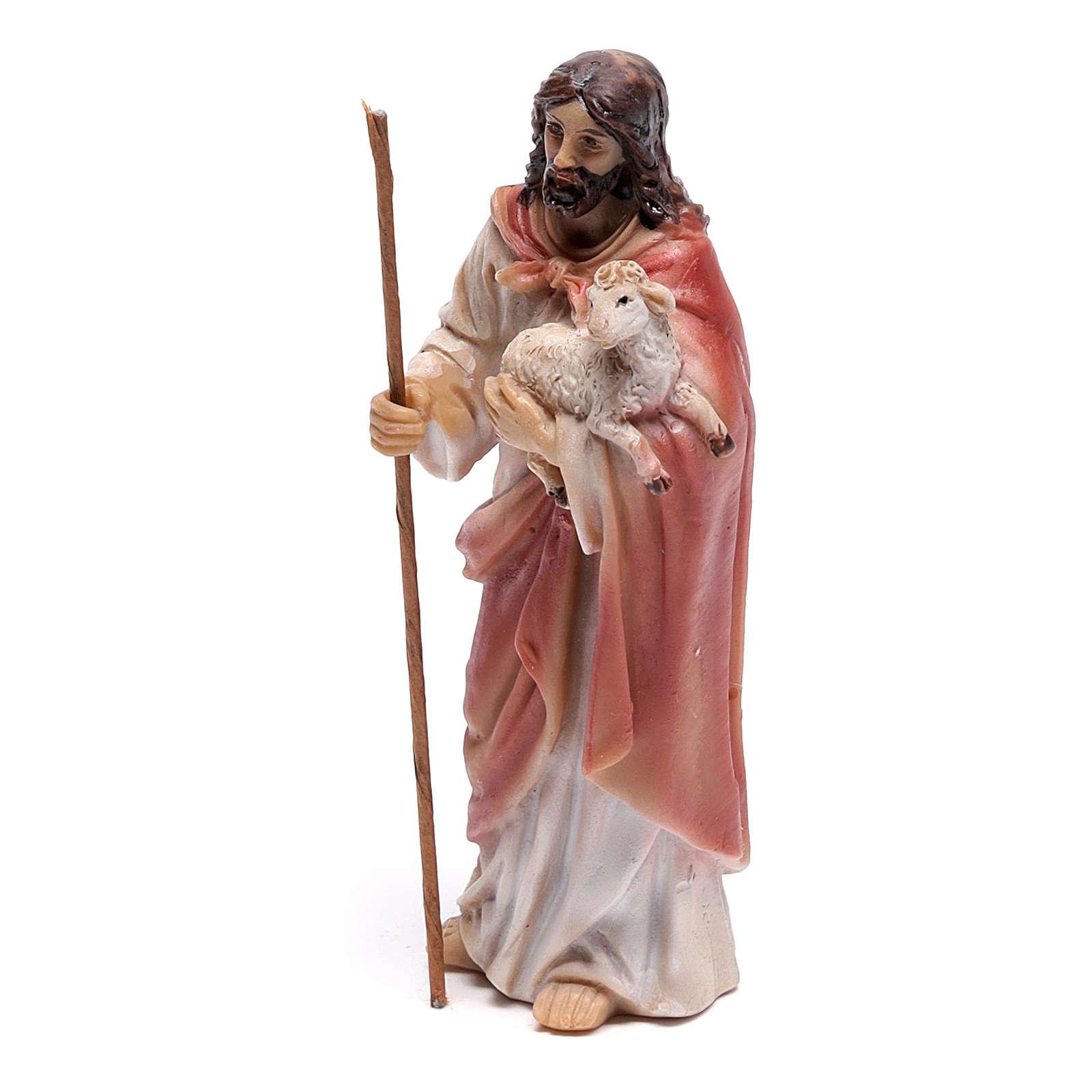 Statuina Gesù Buon Pastore 9 cm in resina 4