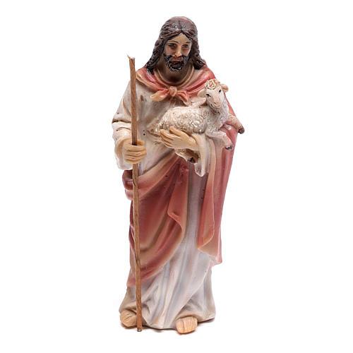 Statuina Gesù Buon Pastore 9 cm in resina 1