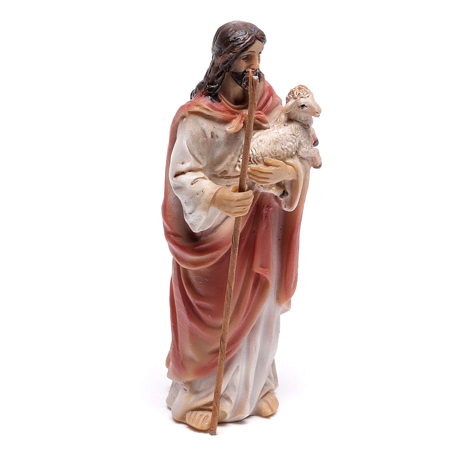 Jesus the Good Shepherd statue, 9 cm in resin 4