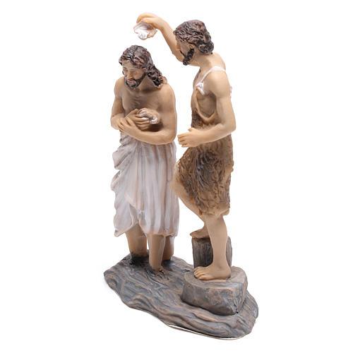 Statuine scena battesimo di Gesù con Giovanni Battista 9 cm 2