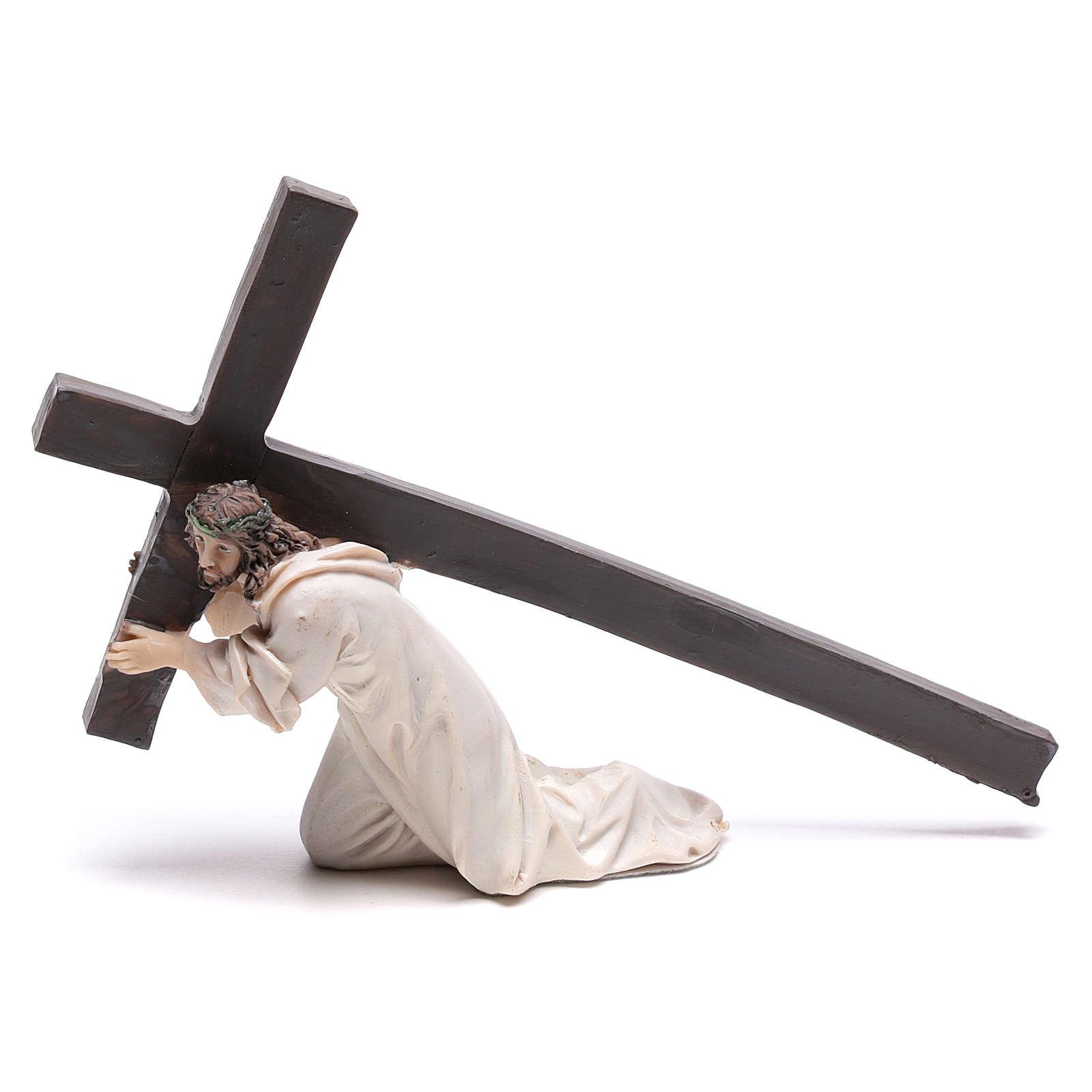 Statuina Gesù cadente con croce 9 cm 4