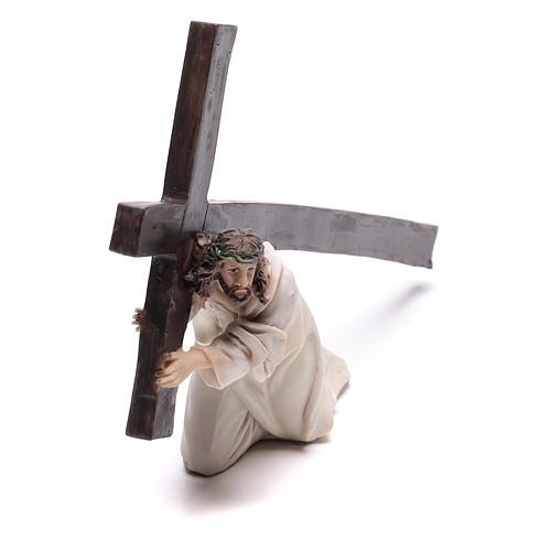 Statuina Gesù cadente con croce 9 cm 2