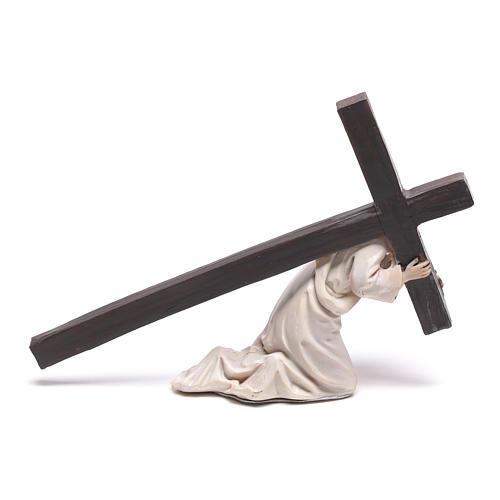 Statuina Gesù cadente con croce 9 cm 3