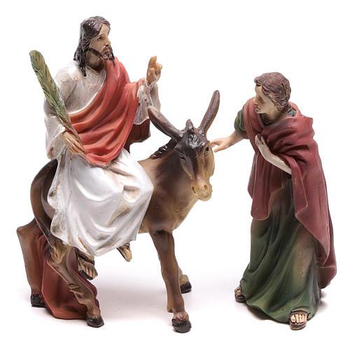 Escena de la entrada en Jerusalén de Jesús 9 cm 1