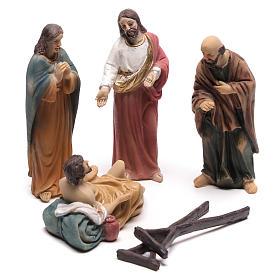 Statues en résine et PVC: Scène vie de Christ guérison des paralysés 9 cm