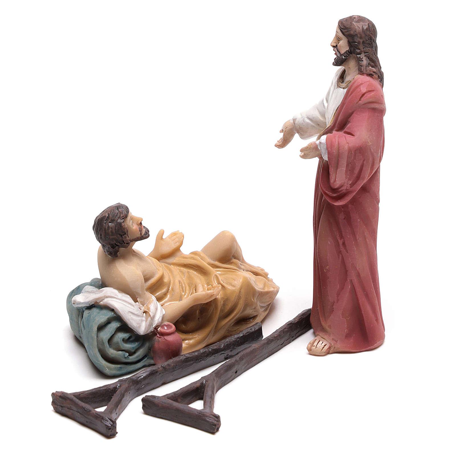 Scena vita di Cristo guarigione dei paralizzati 9 cm 4