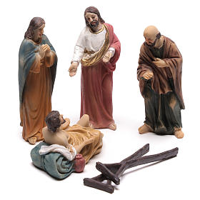 Resin & PVC statues: Christ life scene healing the paralyzed 9 cm