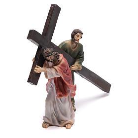 Scena passione di Cristo la salita al Calvario 9 cm s3