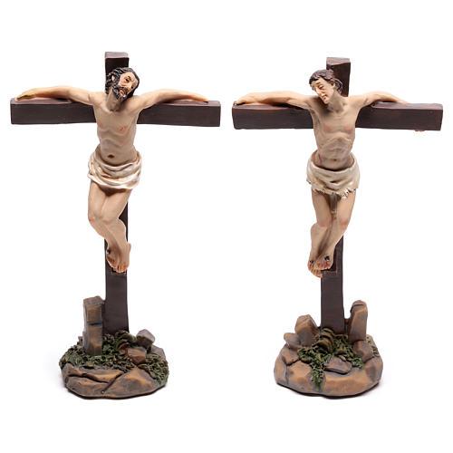 Santons des deux voleurs sur la croix 9 cm 1