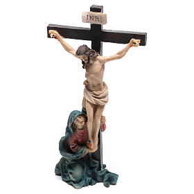 Jesus on the cross with Mary at his feet 9 cm s2