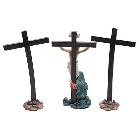 Jesus on the cross with Mary at his feet 9 cm s4