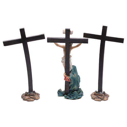 Escena de Jesús en la cruz con María a sus pies 9 cm 4