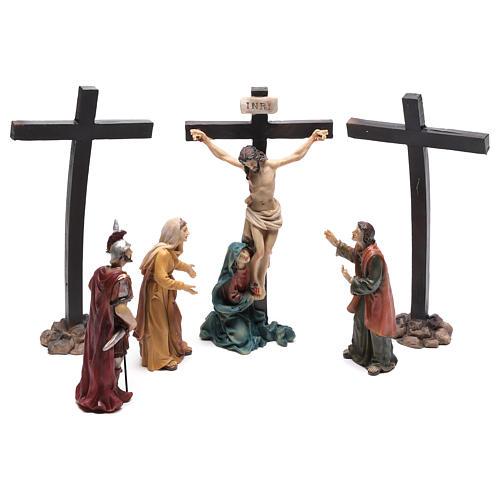Scena di Gesù sulla croce con Maria ai suoi piedi 9 cm 1