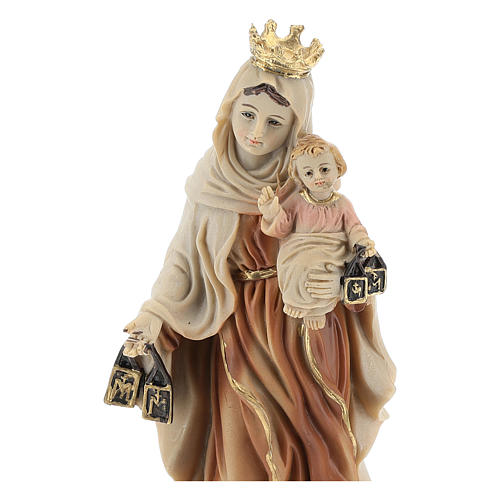 Hand painted resin statue of Our Lady of Mount Carmel 14.5 cm.  2