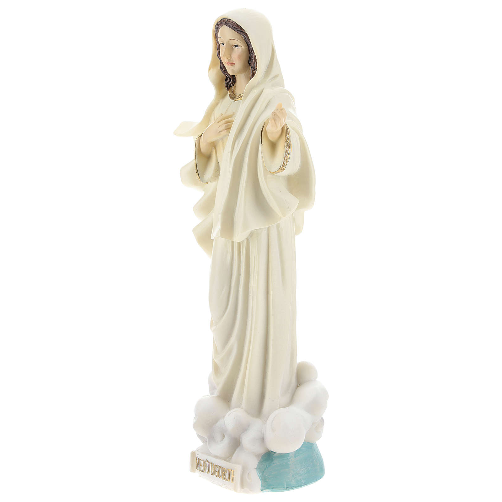 Hand painted resin statue of Our Lady of Medjugorje, Queen of Peace, height 22 cm 4