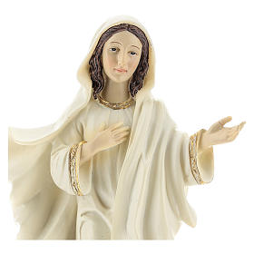 Hand painted resin statue of Our Lady of Medjugorje, Queen of Peace, height 22 cm s2