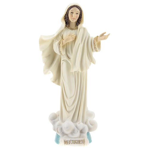 Hand painted resin statue of Our Lady of Medjugorje, Queen of Peace, height 22 cm 1