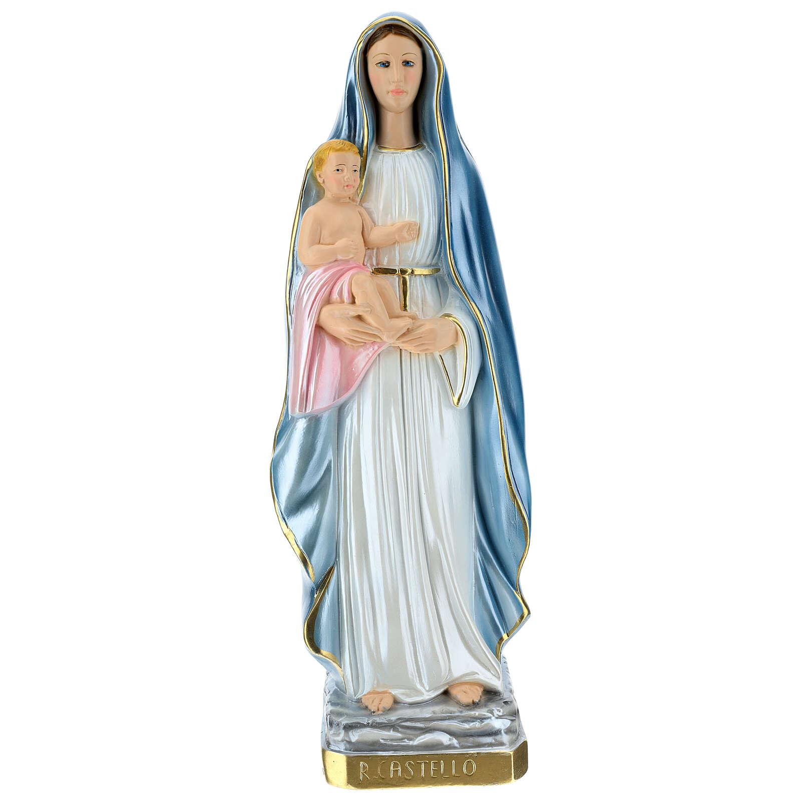Statue Virgin Queen of the Castle mother of pearl plaster 60 cm 4