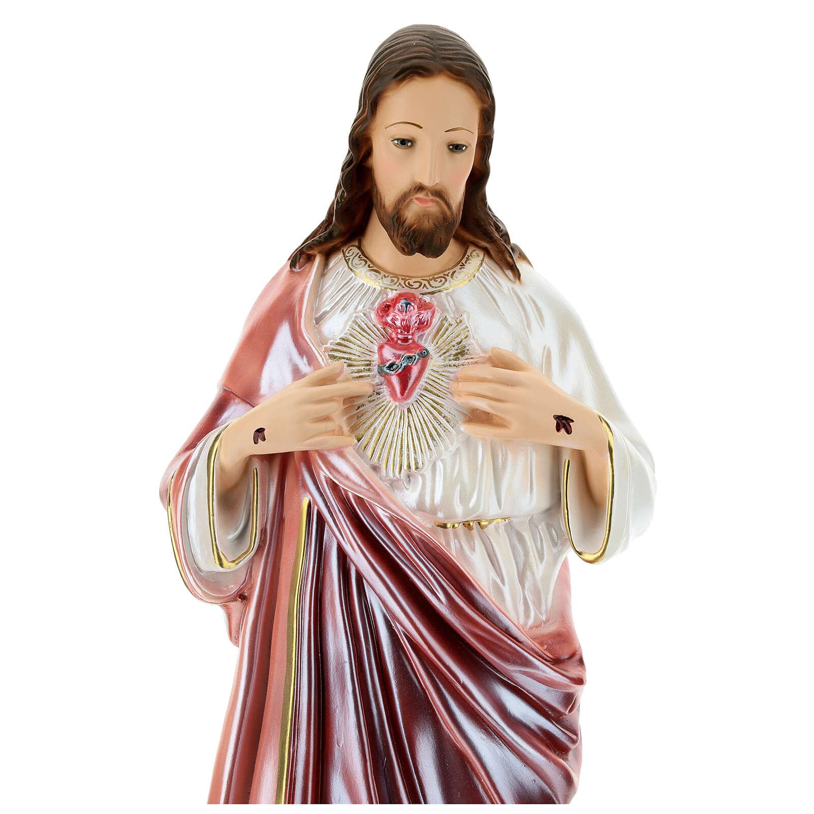 Statue Sacré-Coeur de Jésus plâtre nacré 60 cm 4