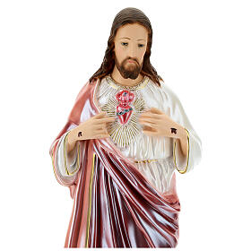 Statue Sacré-Coeur de Jésus plâtre nacré 60 cm s2