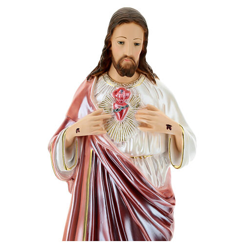 Statue Sacré-Coeur de Jésus plâtre nacré 60 cm 2