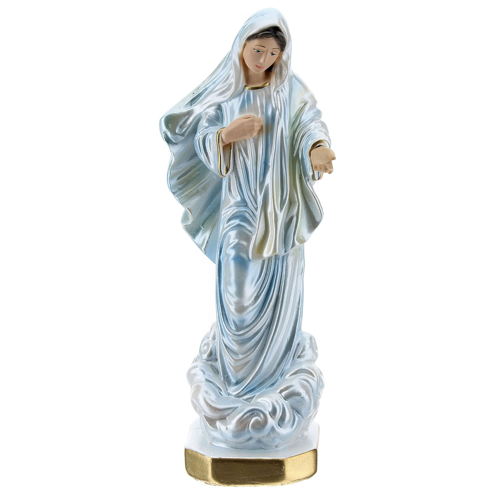 Imagem gesso nacarado Nossa Senhora de Medjugorje 20 cm 4