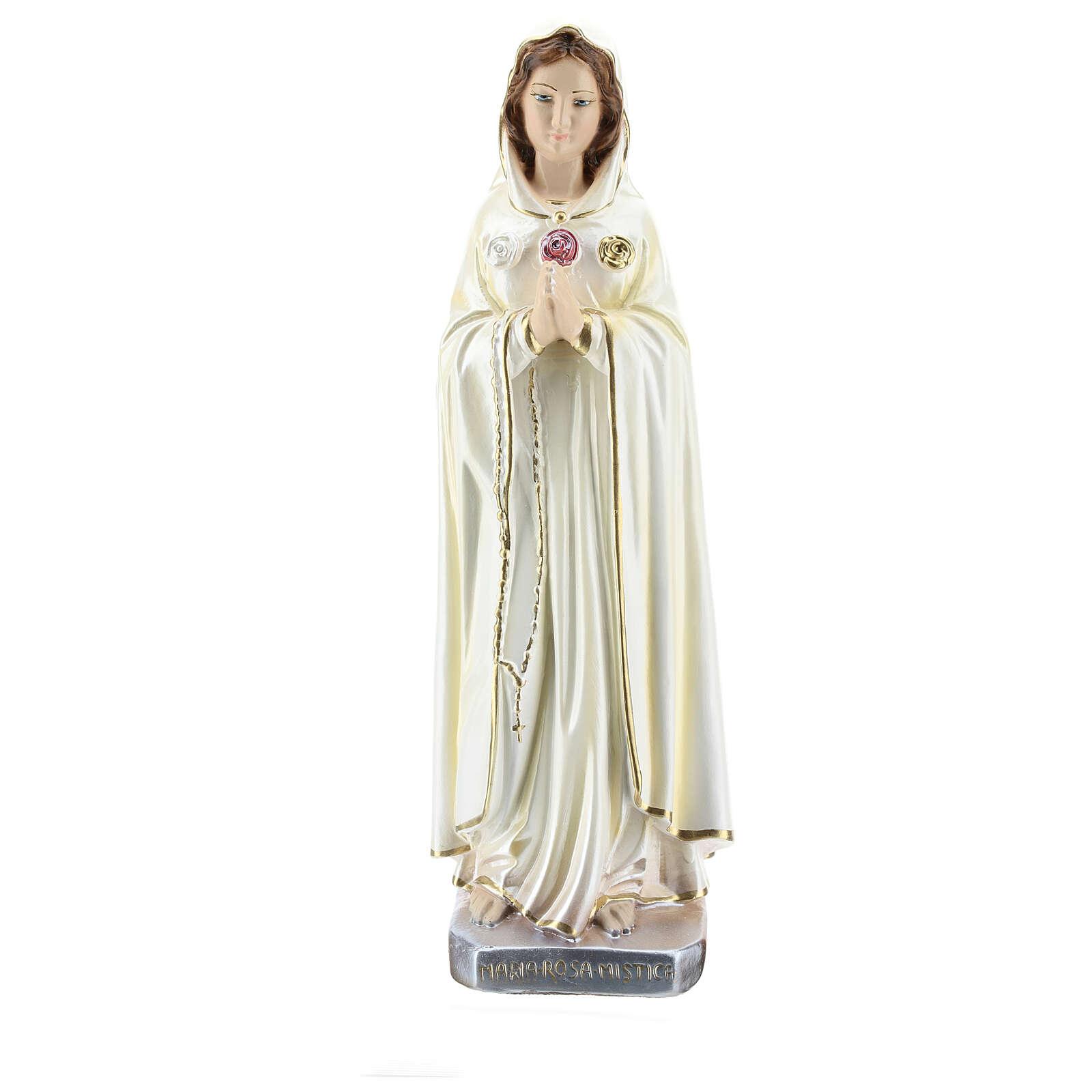Estatua María Rosa Mística yeso nacarado 30 cm 4