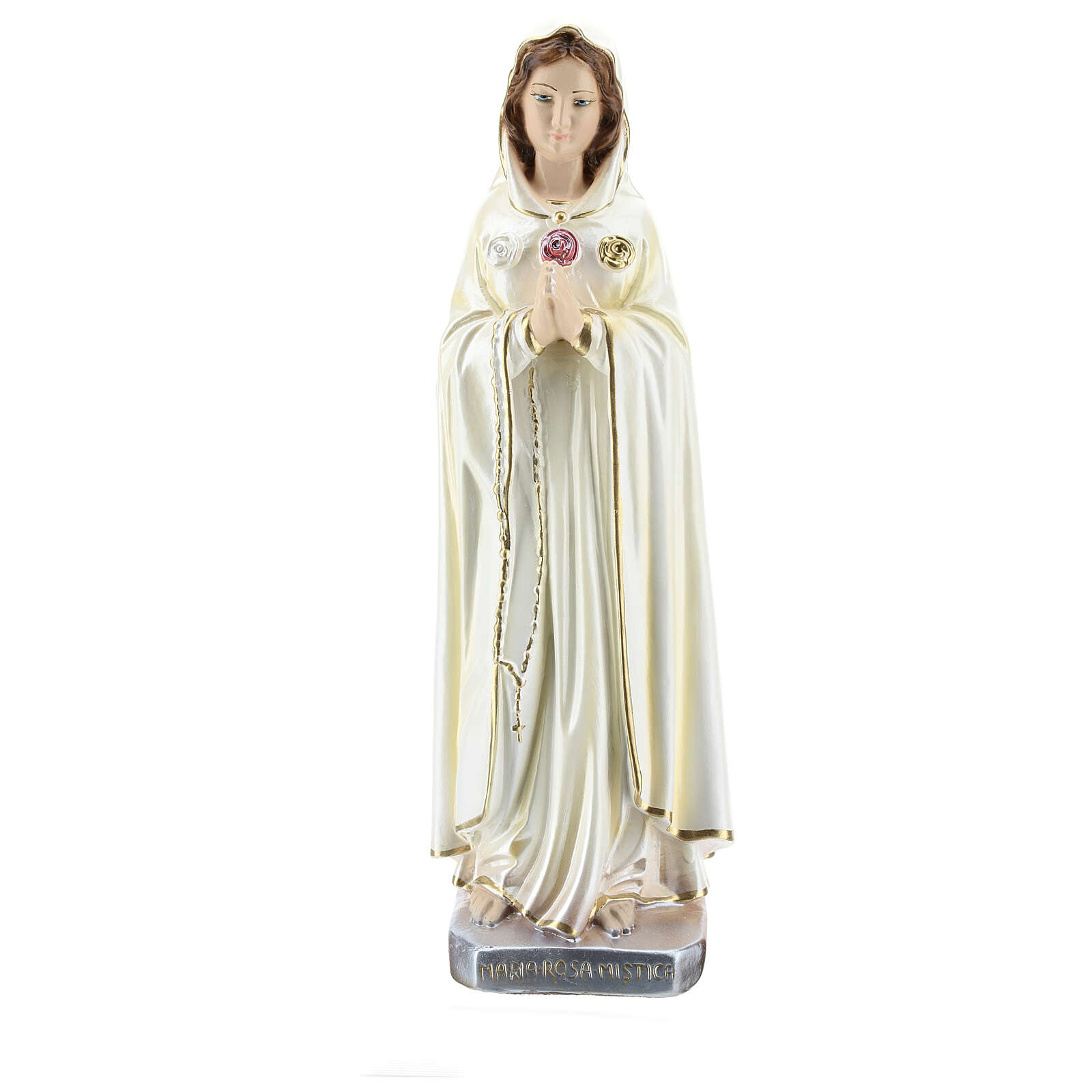 Statua Maria Rosa Mistica gesso madreperlato 30 cm 4