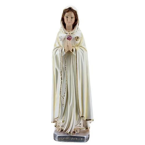 Statua Maria Rosa Mistica gesso madreperlato 30 cm 2