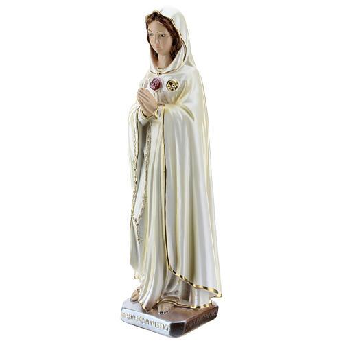 Statua Maria Rosa Mistica gesso madreperlato 30 cm 3