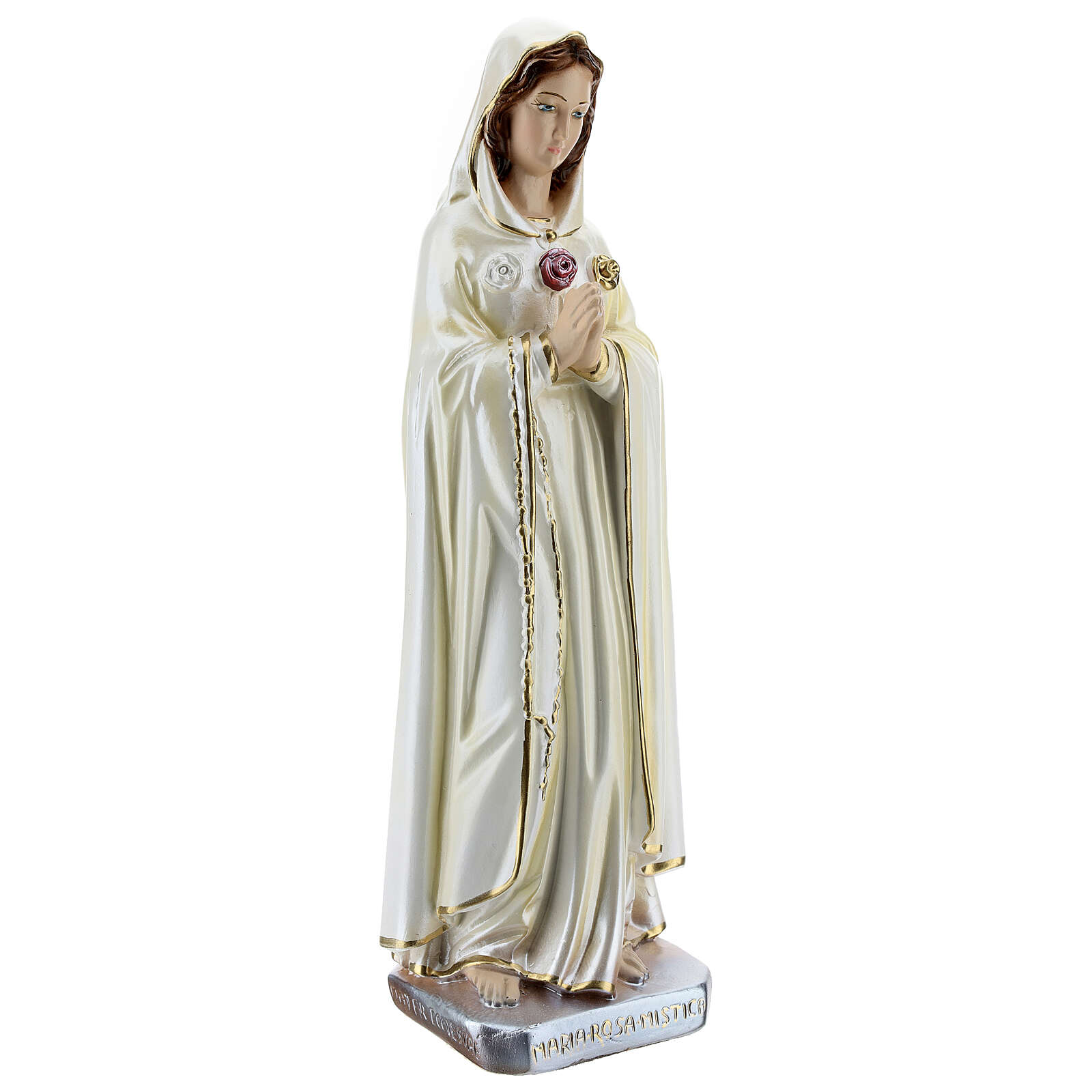 Statue of Rosa Mystica in mother of pearl plaster 30 cm 4