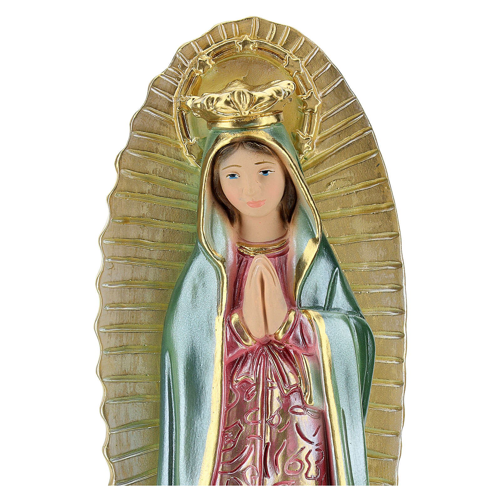 Virgin Mary of Guadalupe 25 cm plaster mother of pearl 4