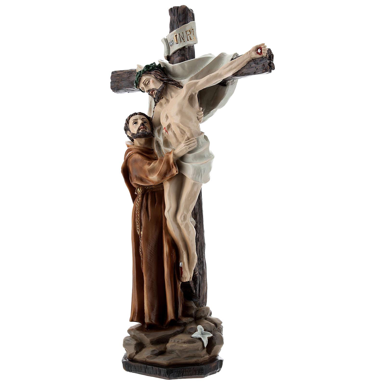 Statue Saint François dépose Jésus de la Croix résine 30 cm 4