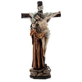 Statua San Francesco depone Gesù dalla Croce resina 30 cm
