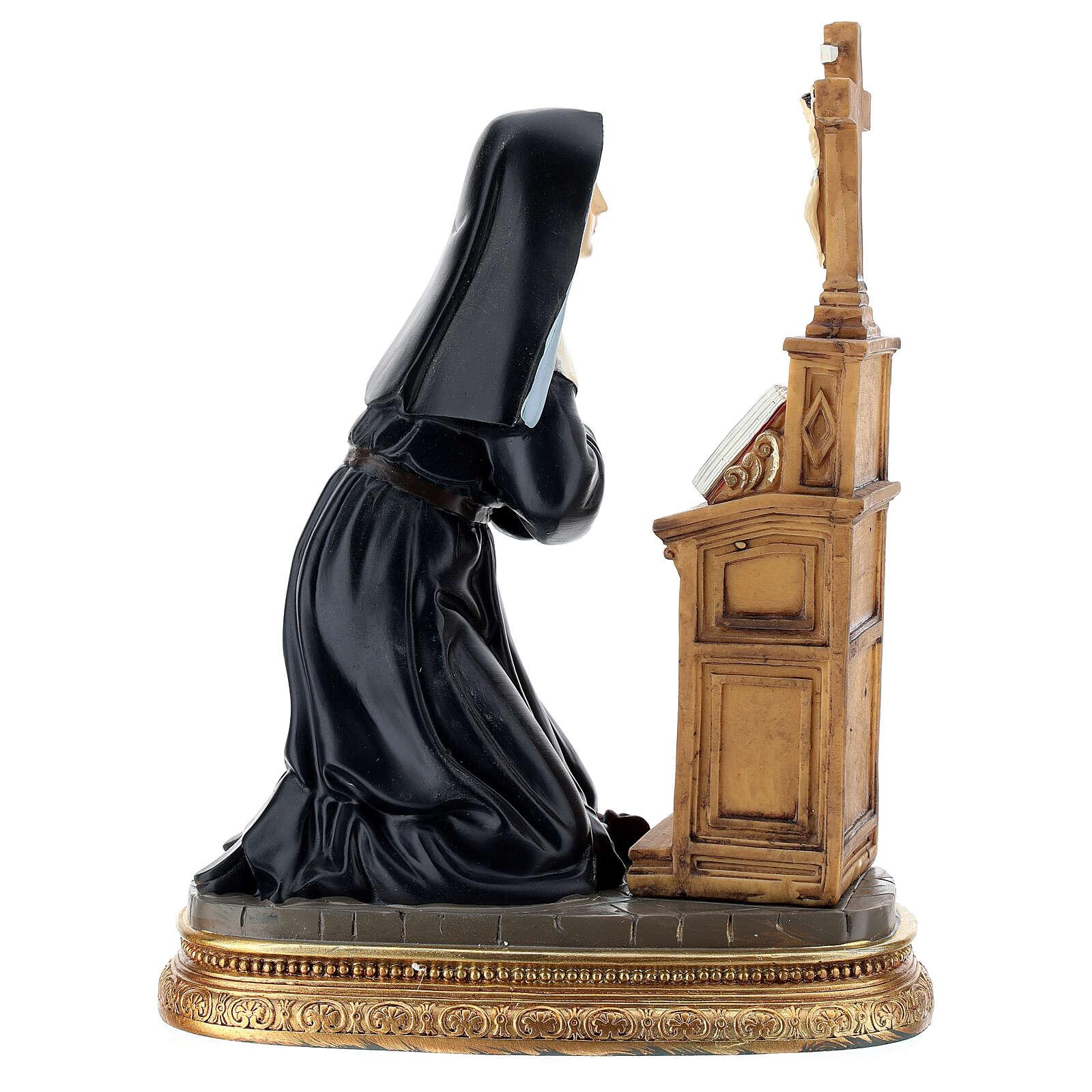 Sainte Rita prière à genoux statue résine 20 cm 4