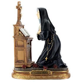 Santa Rita preghiera in ginocchio statua resina 20 cm