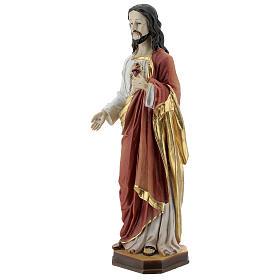 Gesù Sacro Cuore bianco rosso oro statua resina 30 cm