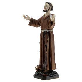 San Francisco Asís paloma en el brazo estatua resina 12 cm