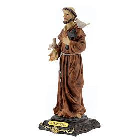 Estatua San Francisco Asís palomas cruz madera resina 20 cm