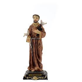 Statua San Francesco Assisi colombe croce legno resina 20 cm