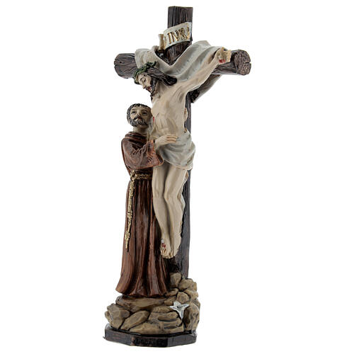 São Francisco depõe Cristo da cruz imagem resina 15 cm