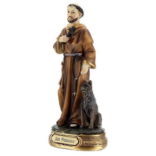 São Francisco cruz lobo imagem resina 13 cm