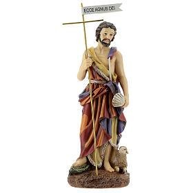 Estatua Bautista Ecce Agnus Dei cruz resina 30 cm