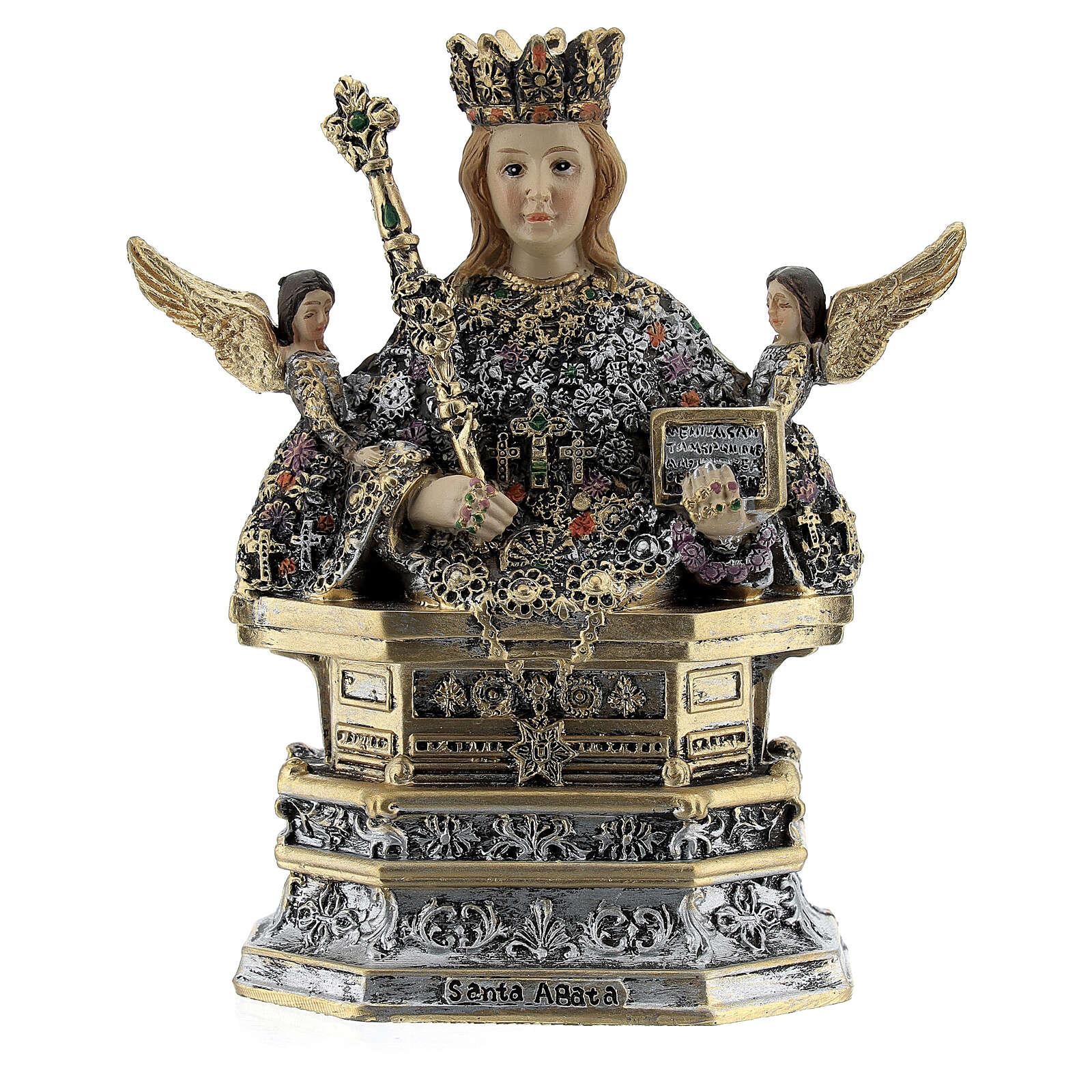 Santa Ágata busto resina coloreada 10x10x5 cm 4
