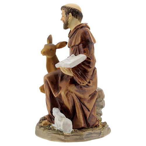 São Francisco sentado com animais resina 10x10x5 cm