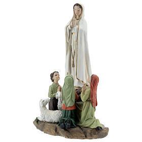 Imagem Nossa Senhora de Fátima com pastorinhos resina 15x20x10 cm