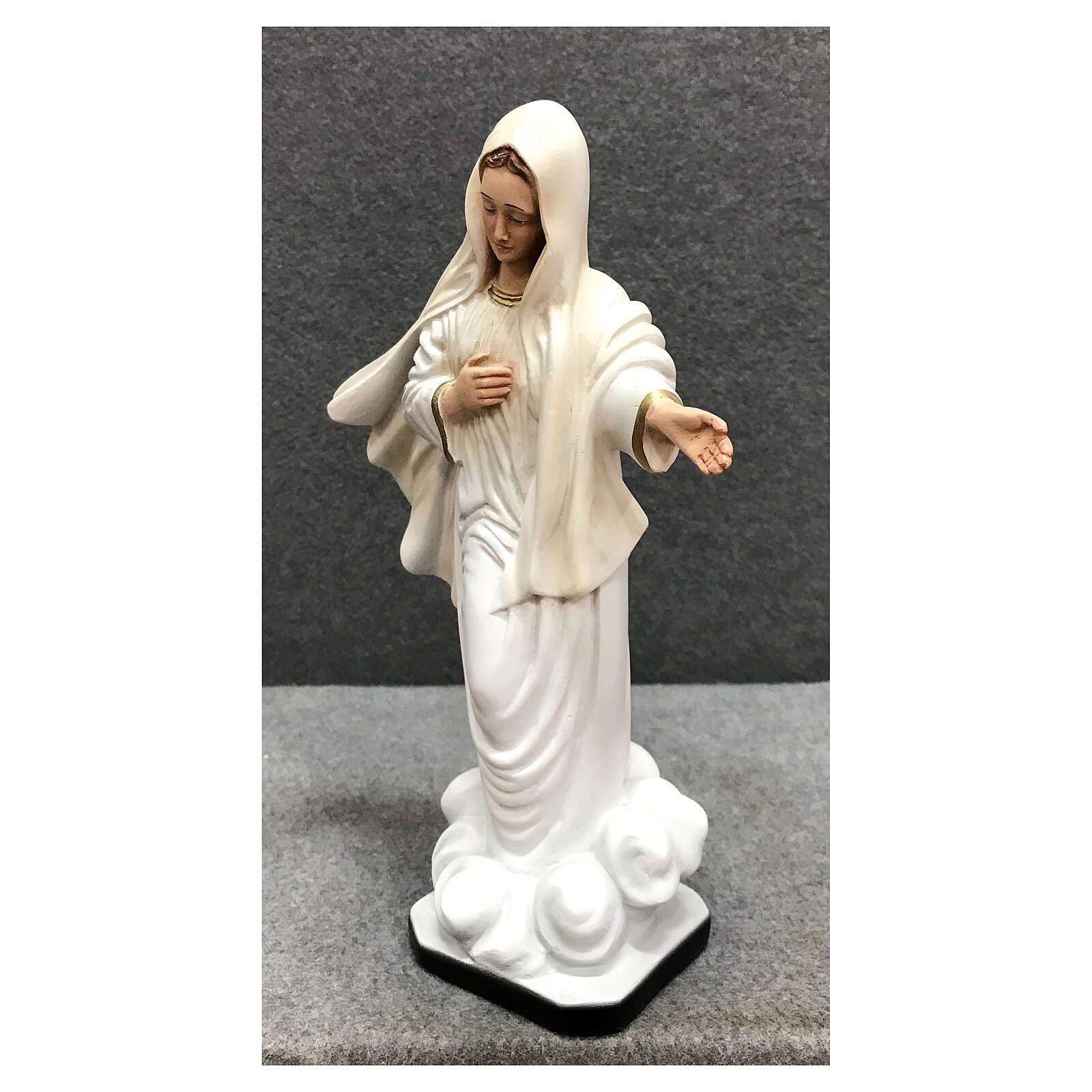 Our Lady of Medjugorje statue gold decor 28 cm painted resin 4